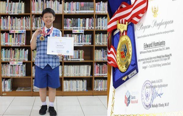Peraih Medali Emas di ajang Olimpiade Sains Nasional (OSN) 2018 dari SMPK 6 PENABUR Jakarta, Edward Humianto