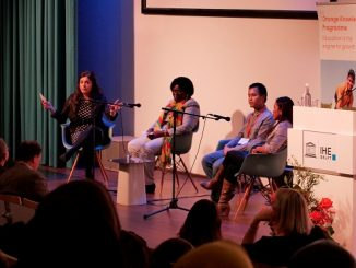 SESI PANEL: Senay Ӧzdemir (moderator) bersama Victoria Norgbey (Ghana), Charmae Nercua (Filipina) dan Kezang Gaden (Bhutan) saat sesi panel International Students' Day di Ruang Seminar Lantai 2 IHE Delft, Belanda, Sabtu, 17 November 2018