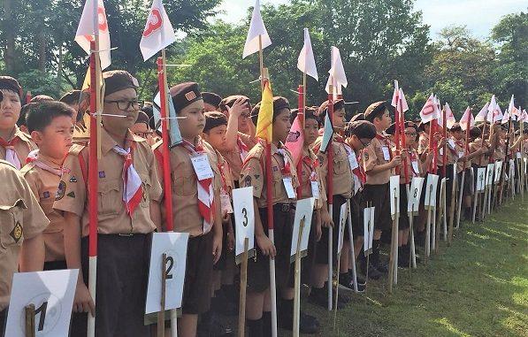 Peserta didik di Jambore Pramuka Penggalang SDK PENABUR Jakarta, Kempa 3 Buperta Cibubur, Jakarta Timur