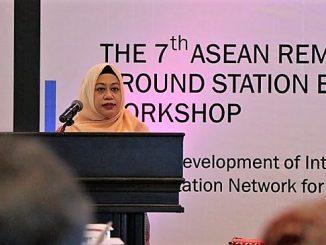 Deputi Bidang Penginderaan Jauh, Dr. Orbita Roswintiarti di The 7th ASEAN Remote Sensing Ground Station Experts Exhange Workshop di Makassar