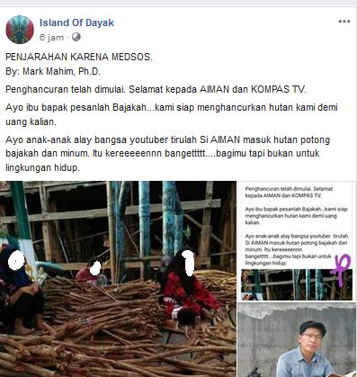 Status akun FB Island of Dayak soal Bajakah dan tayangan Aiman Kompas TV