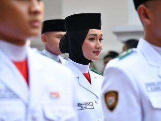Anggota Paskibraka, Indrian Puspita Rahmadhani dari SMA Negeri 1 Bireuen di Aceh