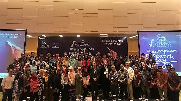 Peserta dan narasumber Hari Riset Eropa 2019 (European Research Day 2019) di Surabaya, Selasa, 29 Oktober 2019