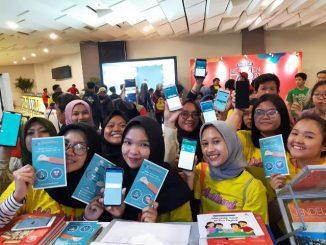 Pengunjung Pameran Siberkreasi Netizen Fair 2019 yang digelar di Mal Kota Kasablanka, Jakarta.