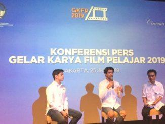 Reza Rahadian memberikan konferensi pers GKFP 2019.