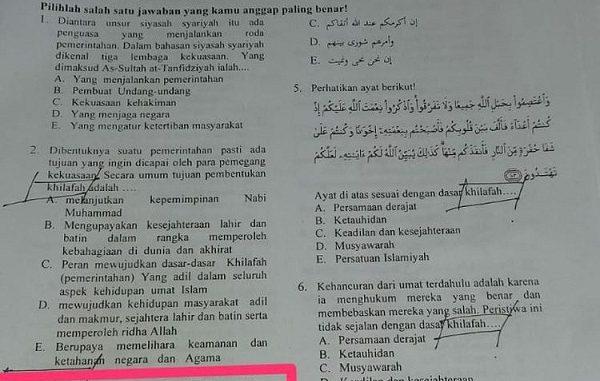 Soal ujian Penilaian Akhir Semester (PAS) Madrasah Aliyah (MA) di Kediri yang bermuatan khilafah