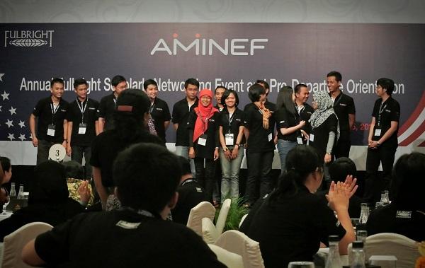 Para penerima beasiswa The American Indonesian Exchange Foundation (AMINEF)