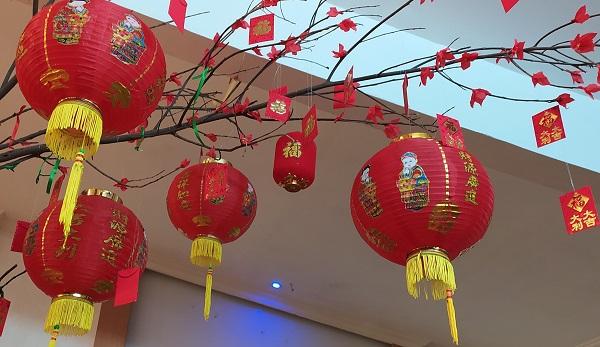Pohon Mei Hua dengan Lampion Tahun Baru Imlek (China)