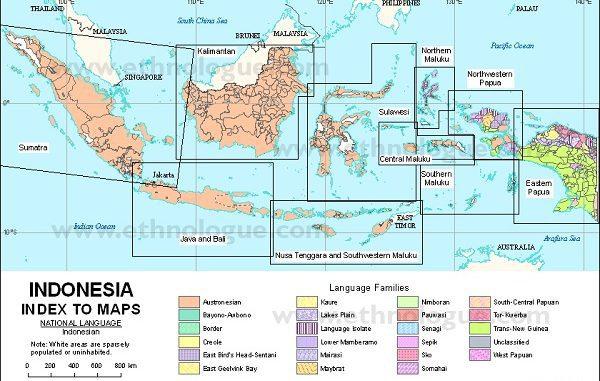 Peta Sebaran Bahasa Daerah di Indonesia