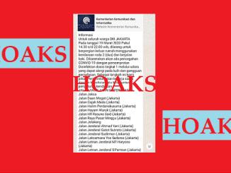Salah satu hoaks pada Kamis siang berupa konten informasi yang tersebar lewat aplikasi pesan instan WhatsApp mengenai informasi pelarangan bagi Warga DKI Jakarta keluar rumah