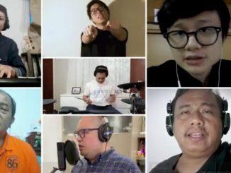 """Alumni Kolese Kanisus bernyanyi """"Rumah Kita"""" untuk galang donasi. (Dok. Alumni Kolese Kanisius Jakarta)"""