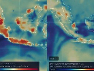 Perubahan kualitas udara di atas wilayah Indonesia Barat pada Bulan Maret 2019 dan Maret 2020 (Sumber: ESA)