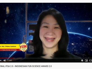 "Rektor Swiss German University (SGU), Dr. rer. nat. Filiana Santoso saat memberikan sambutan di acara Grand Final ""Indonesian Fun Science Awards 2.0"" yang Live di Channel YouTube Swiss German University, Selasa 21 April 2020"