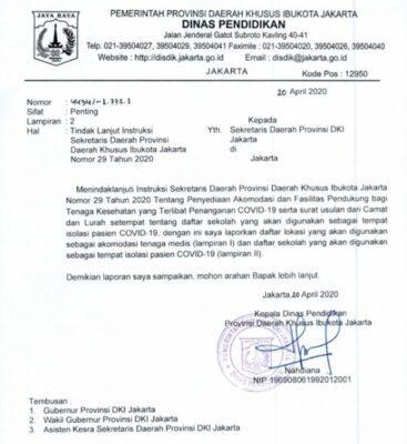 Surat Tindak Lanjut Instruksi Sekretaris Daerah Provinsi Daerah Khusus Ibukota Jakarta Nomor 29 Tahun 2020 yang berisi daftar sekolah di Jakarta yang akan dijadikan akomodasi tenaga medis dan tempat isolasi Covid-19