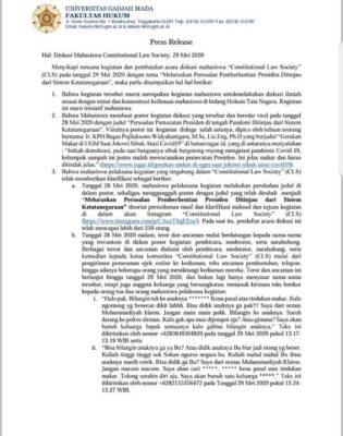 Dukungan Fakultas Hukum UGM untuk diskusi Constitutional Law Society