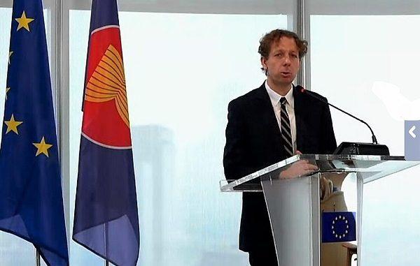 Duta Besar Uni Eropa untuk ASEAN Igor Driesmans saat peluncuran EU-ASEAN Blue Book 2020, Jumat, 8 Mei 2020