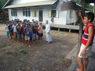 Peserta didik di sebuah asrama sekolah di Kuala Dua, Sanggau, Kalimantan Barat