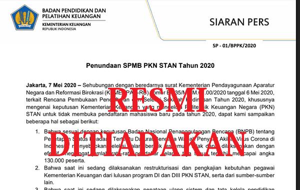 Seleksi Penerimaan Mahasiswa Baru (SPMB) PKN STAN Tahun 2020
