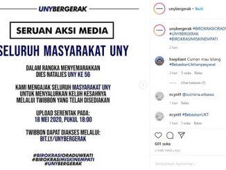 Unggahan Gerakan Aksi Media yang diunggah akun Instagram UNY Bergerak yang berisi tuntutan mahasiswa Universitas Negeri Yogyakarta terkait transparansi Uang Kuliah Tunggal (UKT)