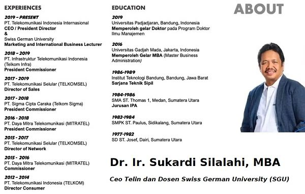 Ceo Telin dan Dosen Swiss German University (SGU), Dr. Ir. Sukardi Silalahi, MBA