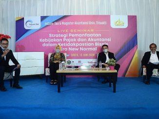"""Live seminar """"Strategi Pemanfaatan Kebijakan Pajak dan Akuntansi dalam Ketidakpastian Bisnis di Era New Normal"""" yang diselenggarakan InCore-Tax dan Magister Akuntansi Universitas Trisakti yang didukung oleh Ikatan Akuntan Indonesia (IAI) dan Majalah Top Business pada Sabtu, 13 Juni 2020"""