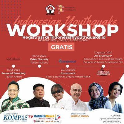 Rangkaian workshop gratis Indonesian Youthquake yang diinisiasi oleh Perhimpuan Pelajar Indonesia (PPI) Belanda (KalderaNews/Dok. Indonesian Youthquake)