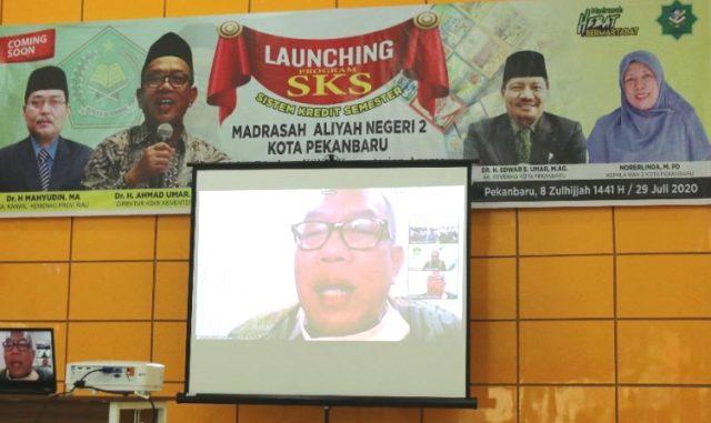 Peluncuran sistem pembelajaran SKS di MAN 2 Pekanbaru (Dok.Humas Kanwil Kemenag Riau)
