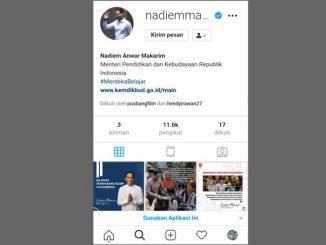 Akun Instagram Mendikbud Nadiem Makarim. (KalderaNews.com/y.prayogo)