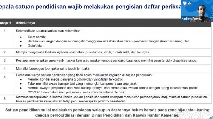 Protokol Pembelajaran Tatap Muka di Zona Kuning