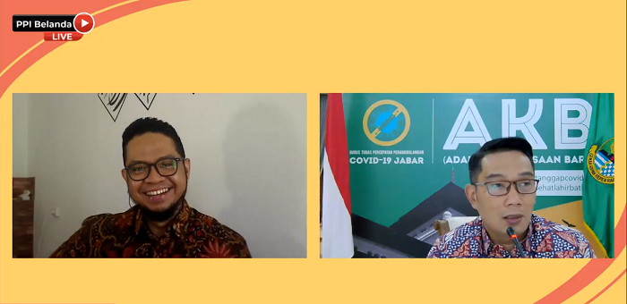 Gubernur Jawa Barat sekaligus Social Media Enthusiast, Ridwan Kamil menjadi narasumber webinar Politics & Social Media (How Social Media Drives Policy Making) di rangkaian Indonesian Youthquake 2020 oleh PPI Belanda dengan moderator Muhammad Akram pada Jumat, 7 Agustus 2020