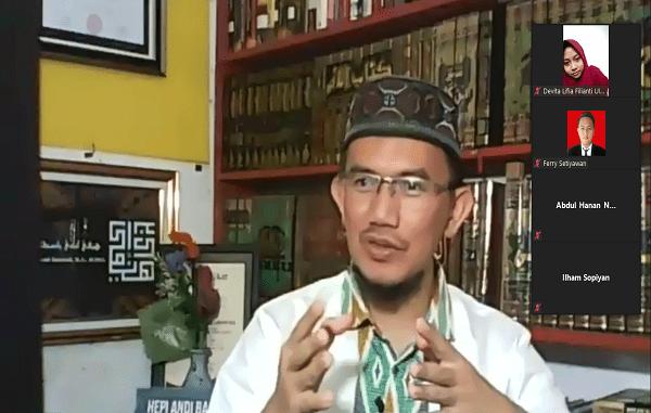 "Ustad Hepi Andi Bastoni pada webinar bertajuk ""Mengapa Harus Berbisnis?"" (15/09) (KalderaNews/ Syasa Halima)"