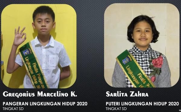 Puteri Lingkungan Hidup 2020 SD: Sarlita Zahra, SDN PAKIS III dan Pangeran Lingkungan Hidup 2020 SD: Gregorius Marcelino Krustian, SDN Kaliasin I