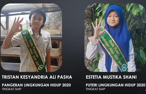 Puteri Lingkungan Hidup 2020 SMP: Estetia Mustika Shani, SMPN 61 dan Pangeran Lingkungan Hidup 2020 SMP: Tristan Kesyandria Ali Pasha, SMPN 41