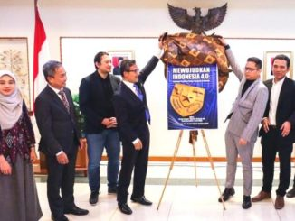 """Peluncuran buku """"Mewujudkan Indonesia 4.0"""" di KBRI Canberra, Australia. (Dok. KBRI Canberra)"""