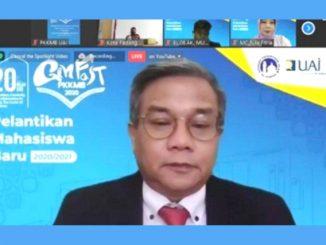 Rektor UAI, Prof. Dr. Asep Saefuddin dalam PKKMB virtual. (KalderaNews.com/Dok.UAI)