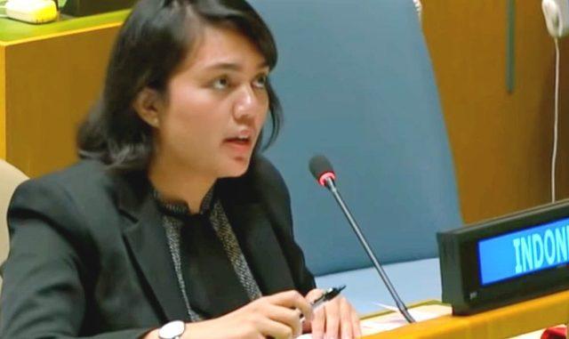 Silvany Austin Pasaribu berbicara dalam Sidang Umum PBB. (Ist.)