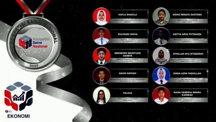 Para pemenang peraih medali perak KSN jenjang SMA Bidang Ekonomi 2020