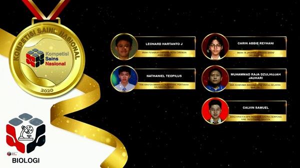 Para pemenang peraih medali emas KSN jenjang SMA Bidang Biologi 2020