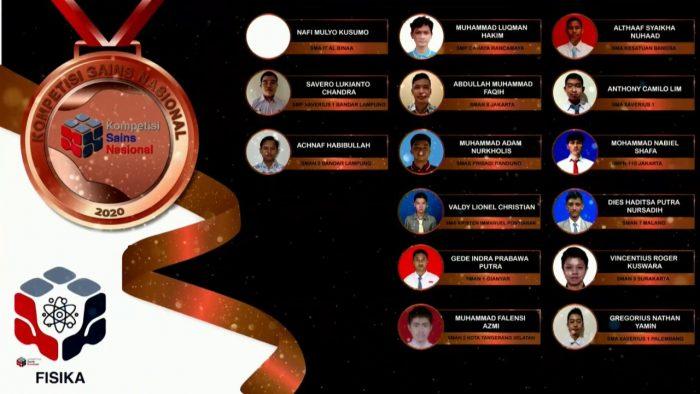 Para pemenang peraih medali perunggu KSN jenjang SMA Bidang Fisika 2020