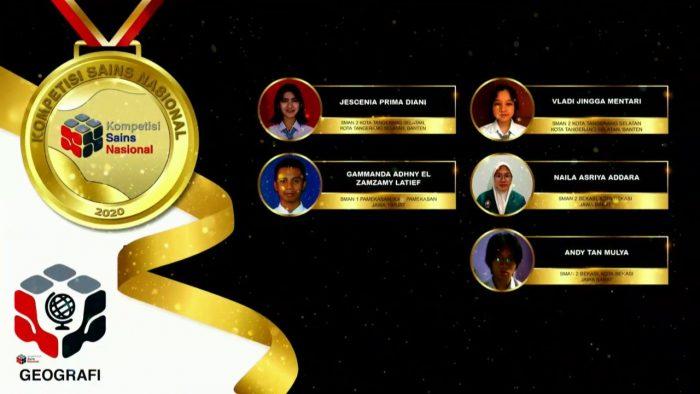 Para pemenang peraih medali emas KSN jenjang SMA Bidang Geografi 2020