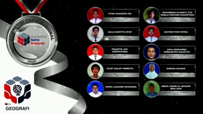 Para pemenang peraih medali perak KSN jenjang SMA Bidang Geografi 2020