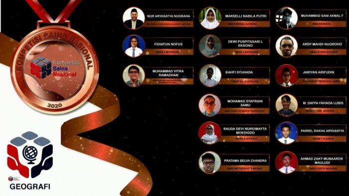 Para pemenang peraih medali perunggu KSN jenjang SMA Bidang Geografi 2020