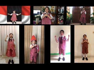 "Siswa SDK BPK Penabur bernyanyi ""Aku Anak Indonesia"" pada acara pengumuman 4.0 competition (KalderaNews/Dok JS de Britto)"