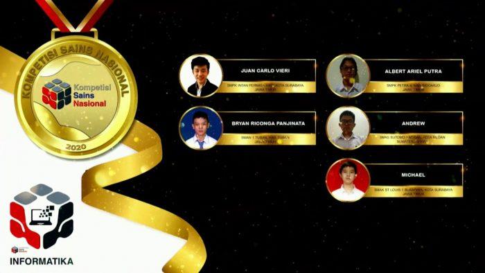 Para pemenang peraih medali emas KSN jenjang SMA Bidang Informatika 2020