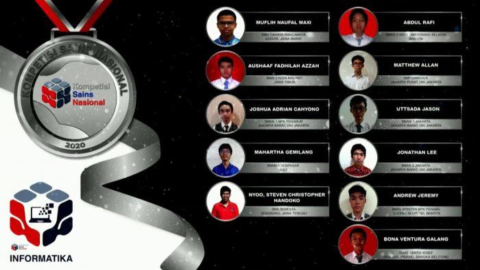 Para pemenang peraih medali perak KSN jenjang SMA Bidang Informatika 2020