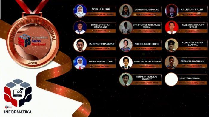 Para pemenang peraih medali perunggu KSN jenjang SMA Bidang Informatika 2020