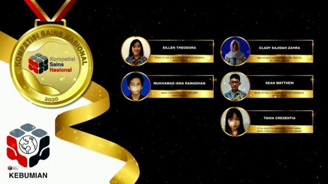 Para pemenang peraih medali emas KSN jenjang SMA Bidang Kebumian 2020