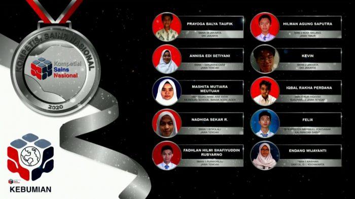 Para pemenang peraih medali perak KSN jenjang SMA Bidang Kebumian 2020