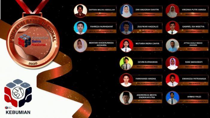 Para pemenang peraih medali perunggu KSN jenjang SMA Bidang Kebumian 2020