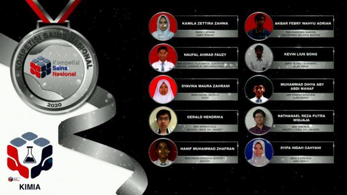 Para pemenang peraih medali perak KSN jenjang SMA Bidang Kimia 2020